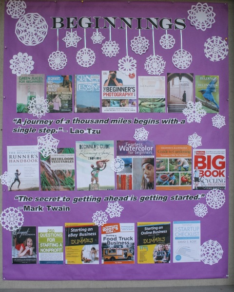 The January 2017 display at the Greenwood Library