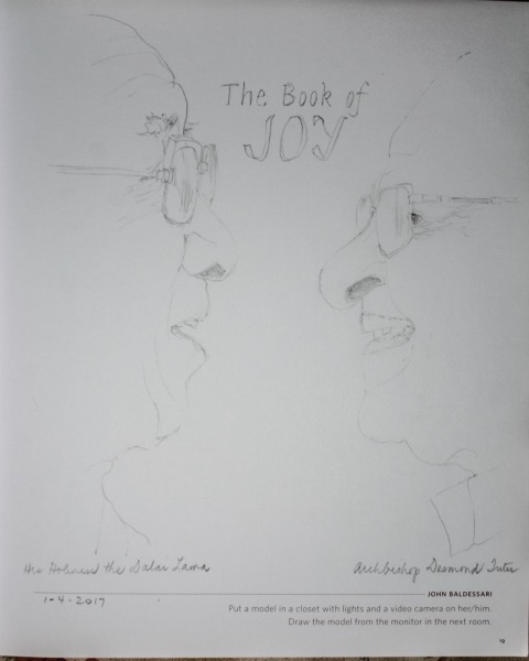 Pencil sketch, portraits from the cover of The Book of Joy