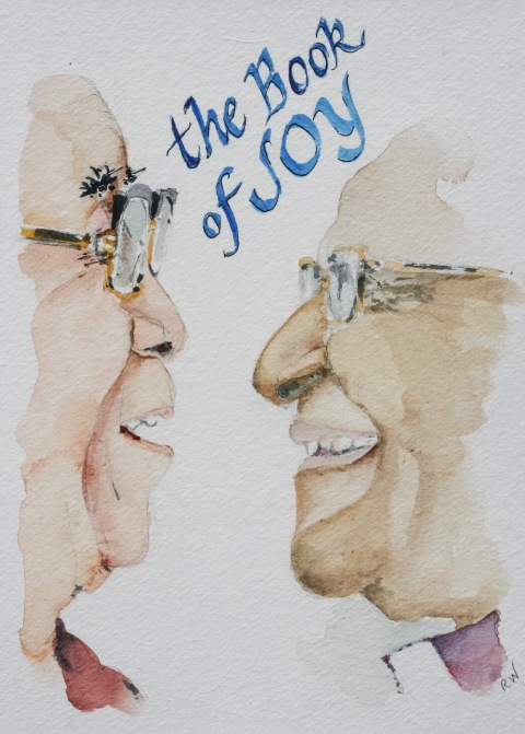 Watercolor sketch of His Holiness the Dalai Lama and Archbishop Desmond Tutu from The Book of Joy