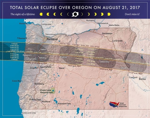Path of totality in Oregon (from Great American Eclipse website)