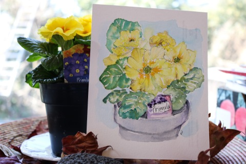 Watercolor sketch of yellow primroses