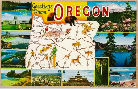 Vintage postcard about Oregon